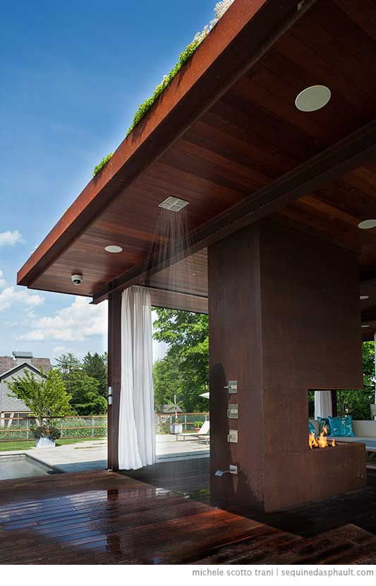 Modern Pool House Shower