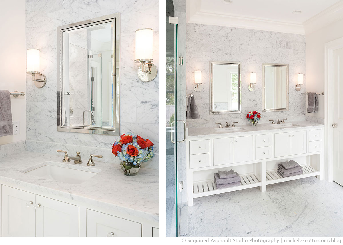 Luxurious master bath designed by Shelter Interiors | Photographer Michele Scotto Trani of Sequined Asphault Studio | http://sequinedasphault.com
